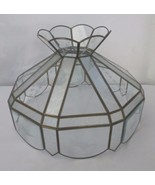 Tiffany style etched & beveled glass light lamp shade Birds and Floral - $150.00