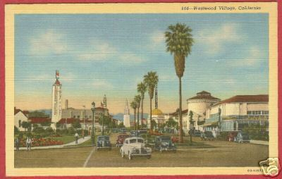 Primary image for Westwood Village CA Postcard Cars Standard Linen BJs