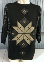 "Vintage Ellen-D Kollection Gold Sparkle Black Ski Sweater 22"" Chest  - $20.75"