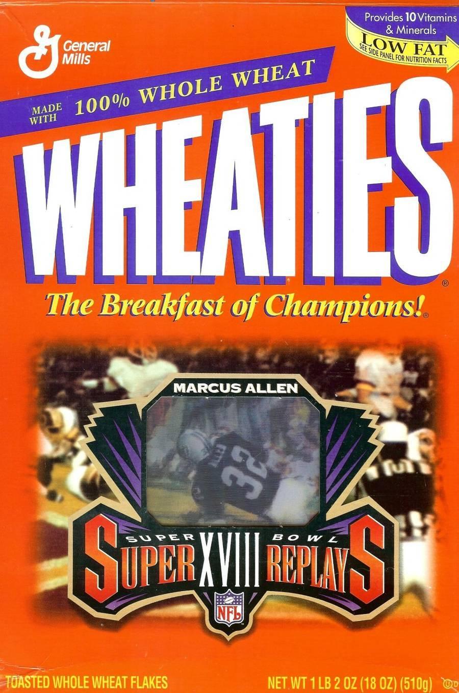 marcus allen wheaties cereal box super