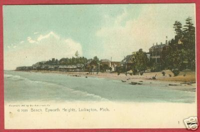 Ludington MI Epworth Heights Beach UDB Postcard BJs