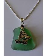 Pretty Teal Sea Glass Silver Sailboat Necklace - $24.00