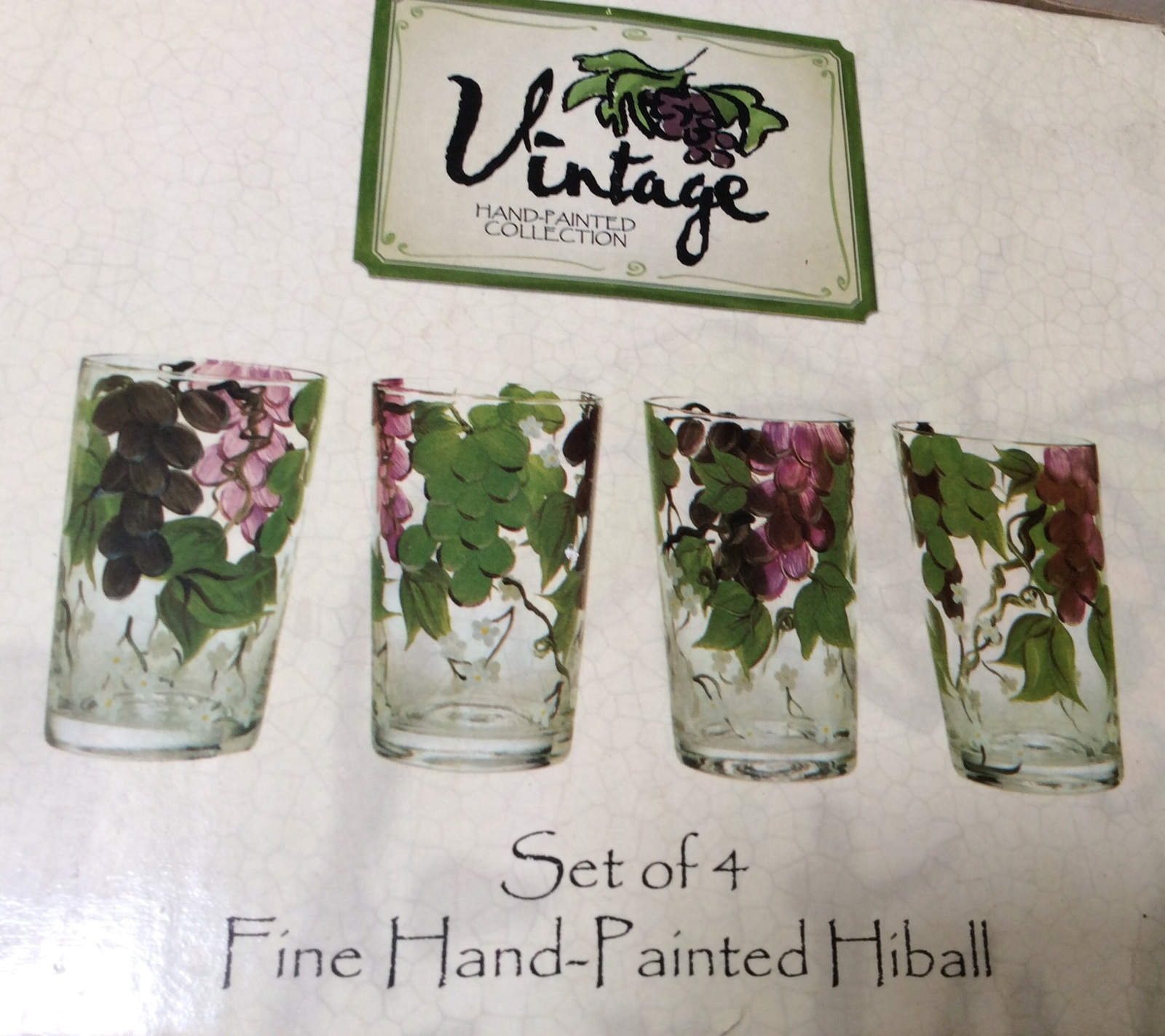 Primary image for Set of 4 Highball Glasses Vintage Hand-painted Collection. New.