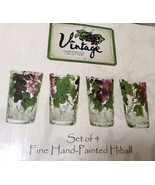 Set of 4 Highball Glasses Vintage Hand-painted Collection. New. - $18.00
