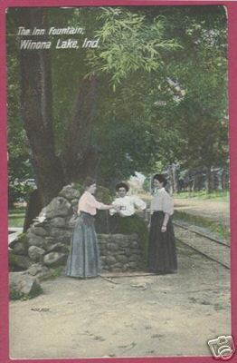 Primary image for WINONA LAKE INDIANA Inn Fountain Ladies 1908 IN