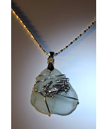 Mint Green Safety Sea Glass Wire Wrapped Necklace w/Silver Crab - $24.00