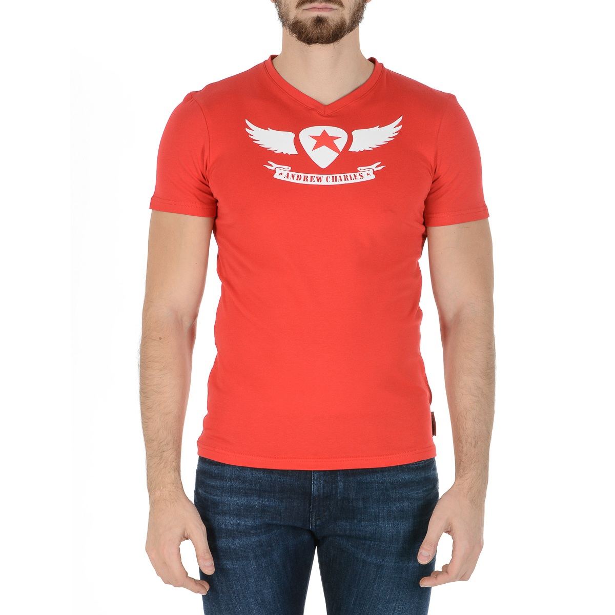 Primary image for Andrew Charles Mens T-Shirt Short Sleeves V-Neck Red KENAN