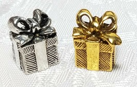 WRAPPED GIFT W/ BOW FINE PEWTER PENDANT CHARM - 9x12x8mm image 1