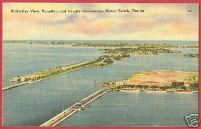 MIAMI BEACH FLORIDA Venetian County Causeways Linen FL