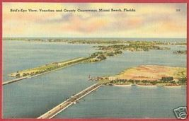 MIAMI BEACH FLORIDA Venetian County Causeways Linen FL - $6.00
