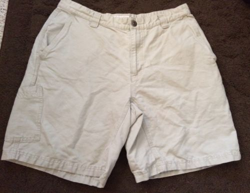 Primary image for MEN'S COLUMBIA BEIGE CAMPING HIKING SHORTS  ZIPPER sz 34 HIKING CAMPING EUC