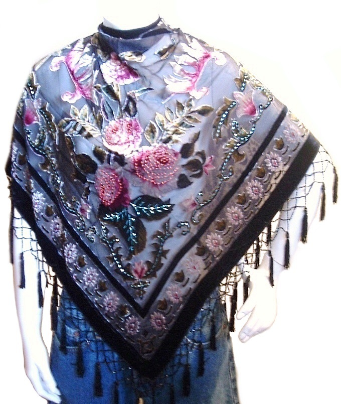 Scarf  Wrap Shawl Flower Velvet Silk Triangle Shape Pink Black Rose New image 2