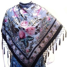 Scarf  Wrap Shawl Flower Velvet Silk Triangle Shape Pink Black Rose New image 1