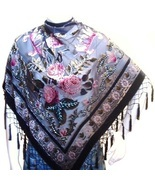 Scarf  Wrap Shawl Flower Velvet Silk Triangle Shape Pink Black Rose New - $34.99
