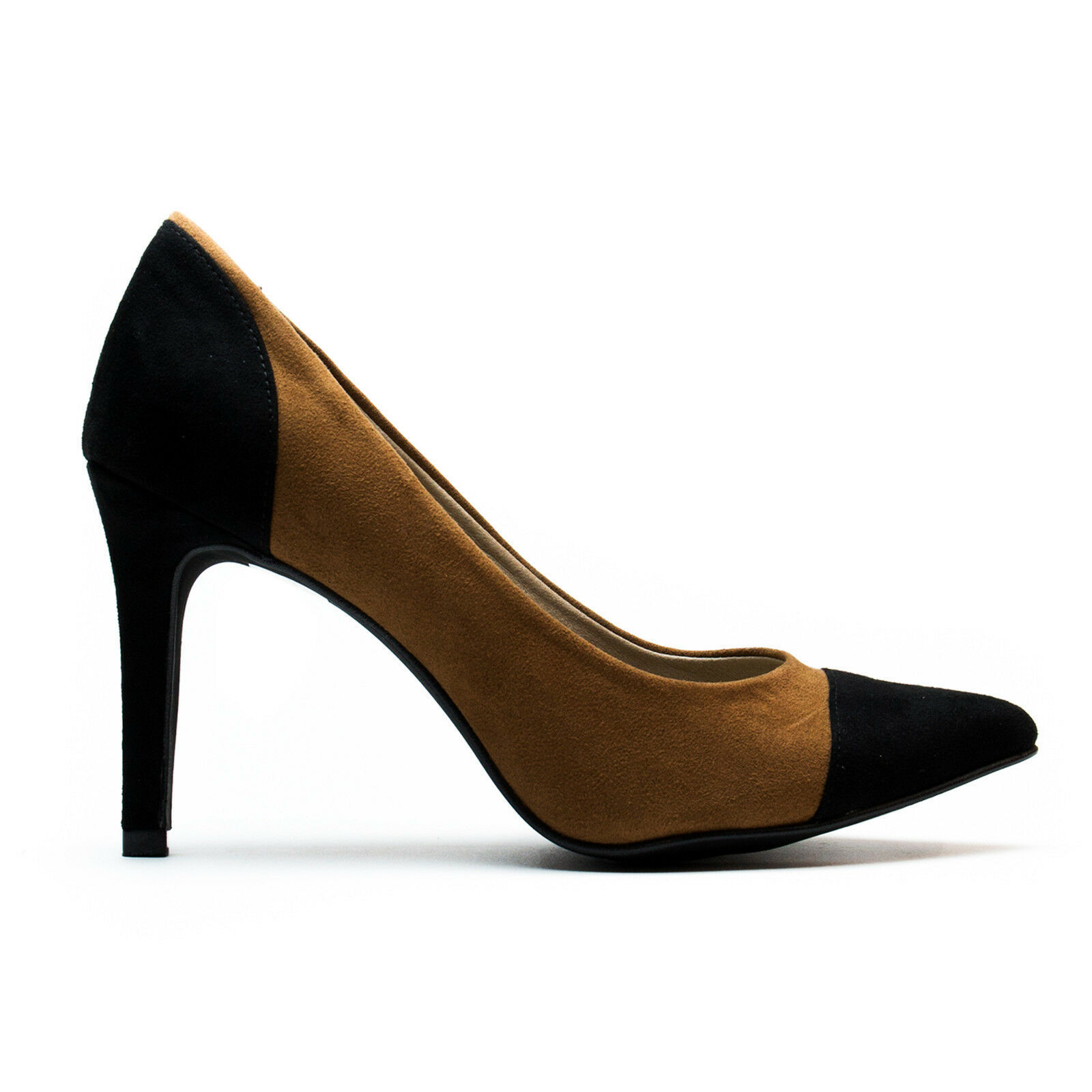 Primary image for Woman Vegan Court Shoe Pointed Pump Heel Black Brown Ecological Microsuede
