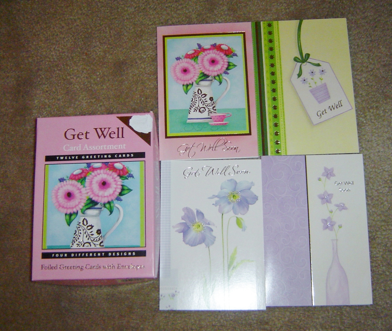 Get Well Greeting Note Cards Foiled Assortment 12 Cards & Envelopes