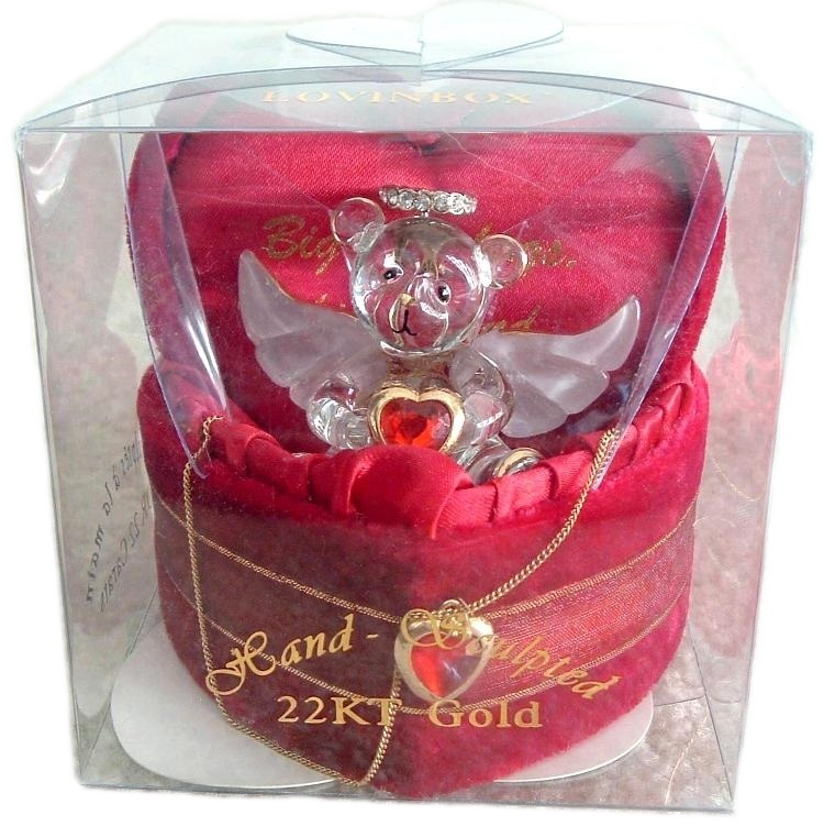 Primary image for VALENTINE Red Lovinbox Angel Bear Hugs Box Gilded 22K