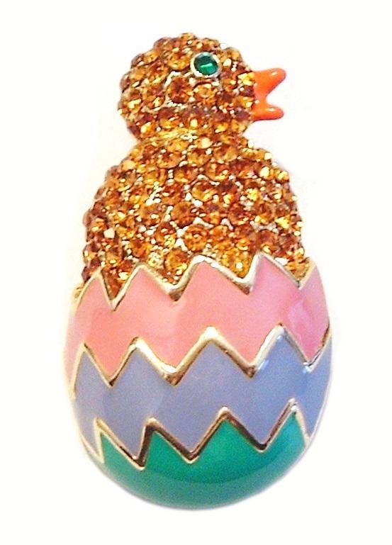 Easter Egg Chick Pin Brooch Gold Topaz Crystal Multicolor Enamel Goldtone Metal no brand