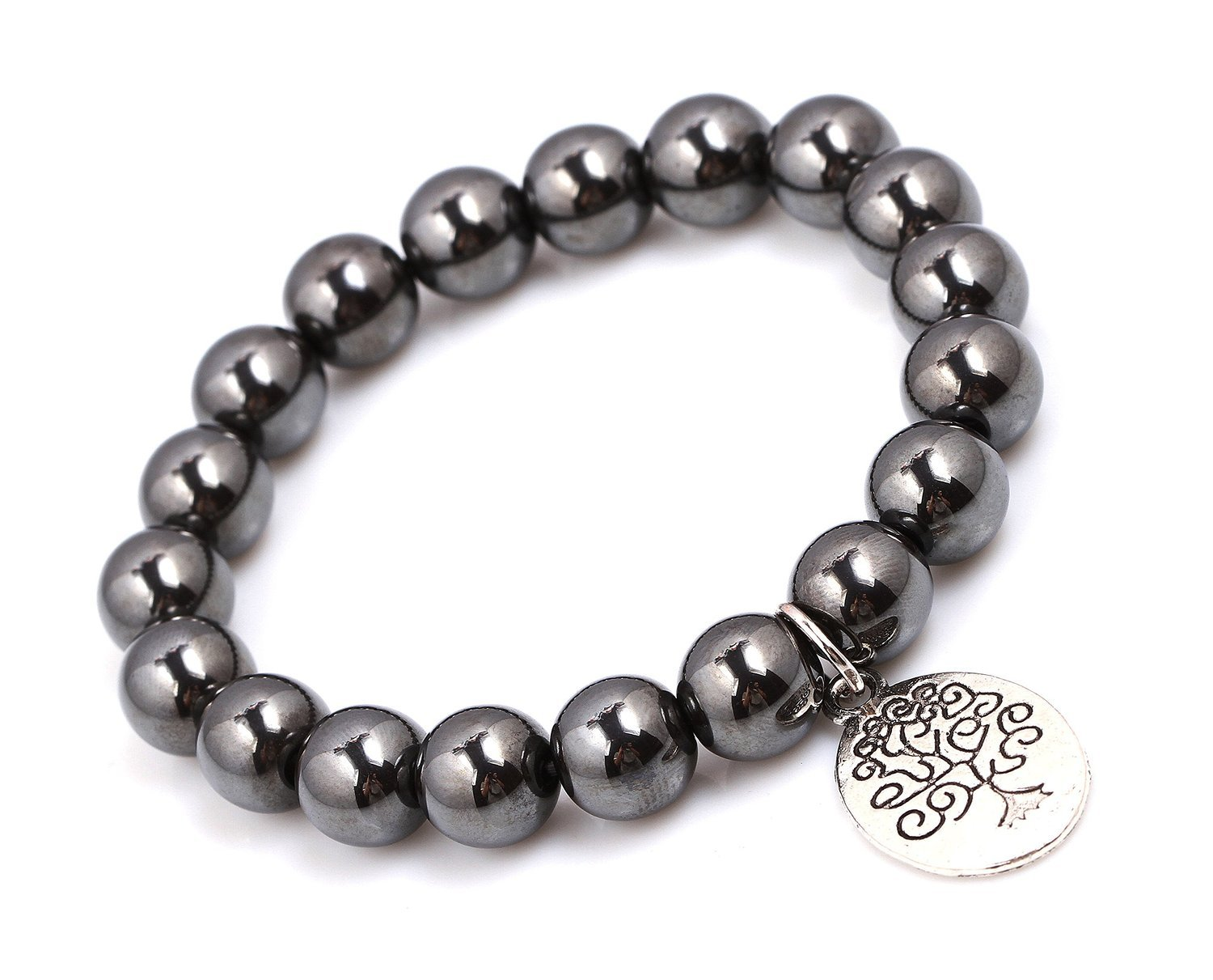 Primary image for Hermatite Beads Bracelet; Men Woman Yoga Buddha Prayer Silver Tree of Life