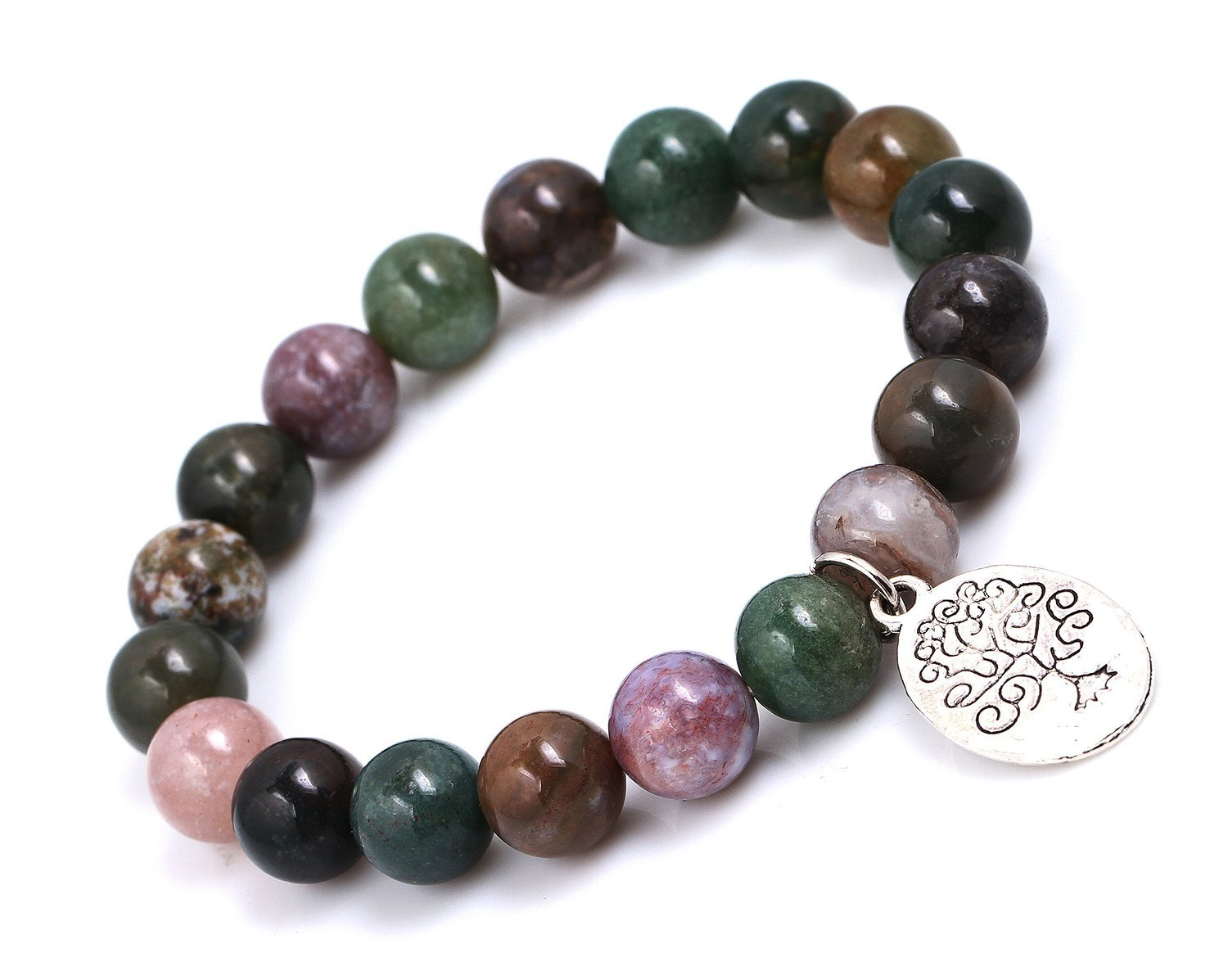 Primary image for India Agate Beads Bracelet; Men Woman Yoga Buddha Prayer Silver Tree of Life