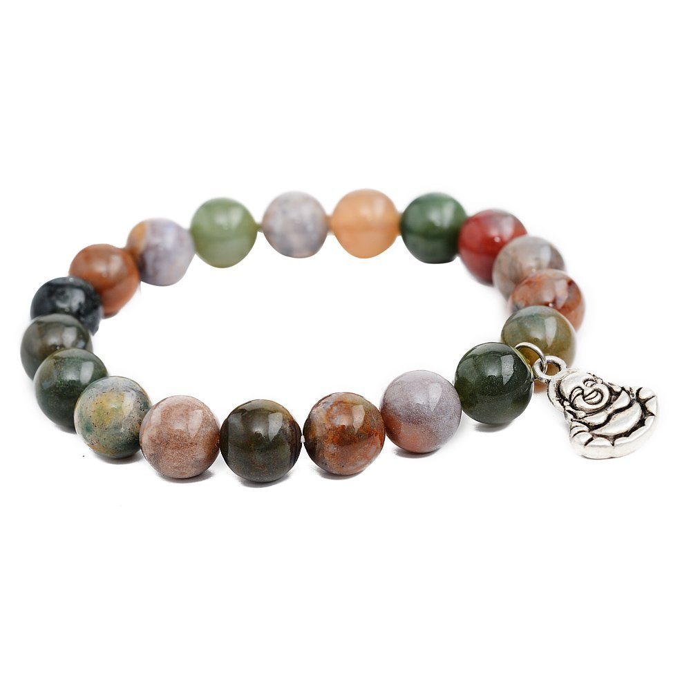 India Agate Maitreya Beads Bracelet; Men Woman Yoga Buddha Prayer Meditation