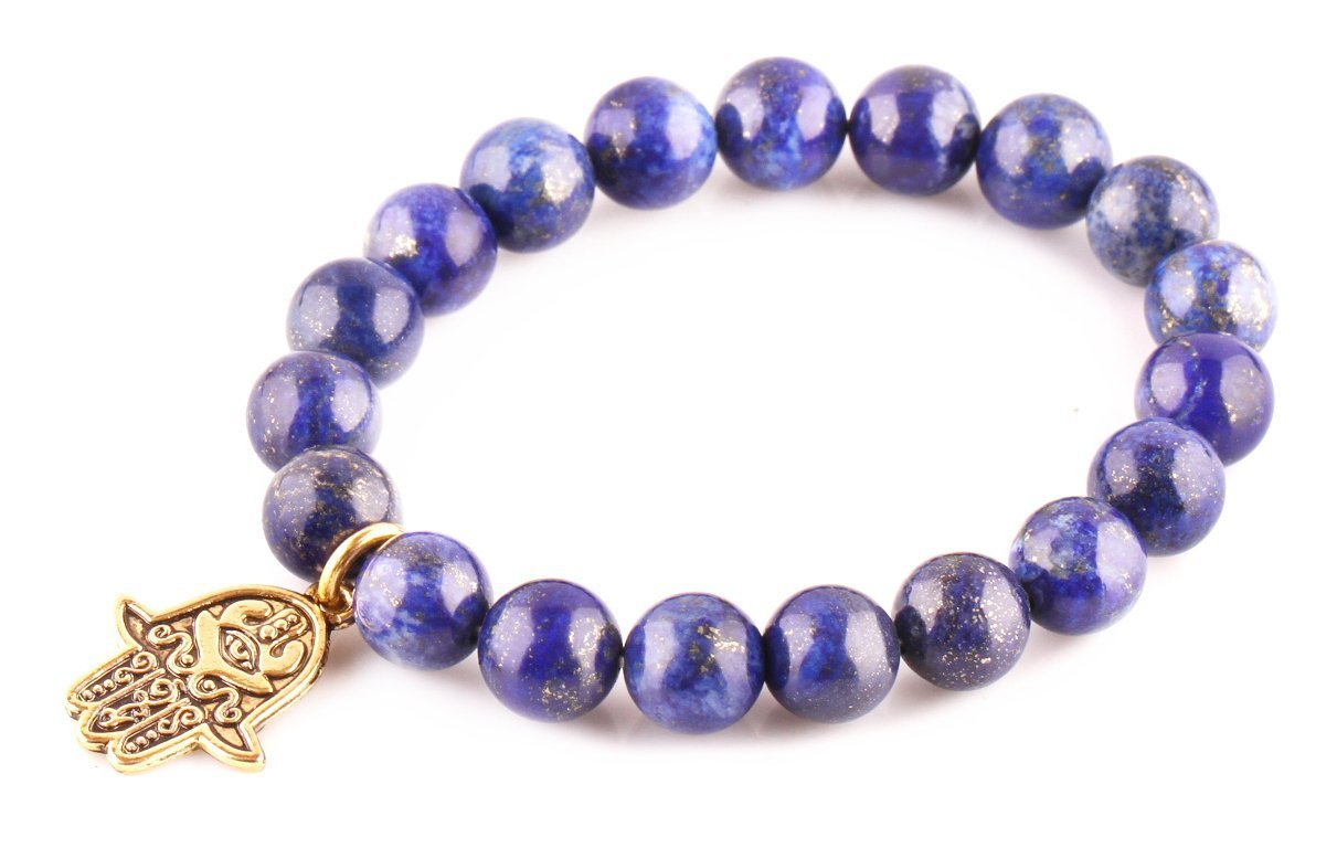 Primary image for Lapis Lazuli Beads Bracelet Men Woman Yoga Buddha Prayer Meditation Golden Hamsa