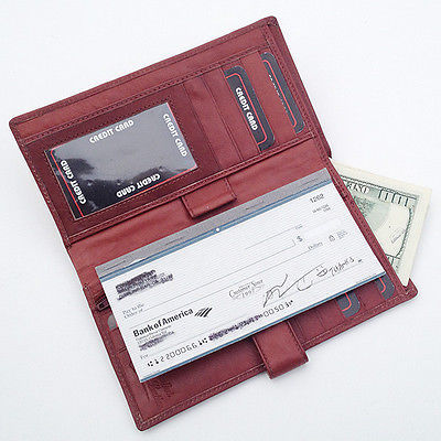 Primary image for Brown Leather Cowhide Premium Checkbook Cover Organizer Wallet Strap Close L308