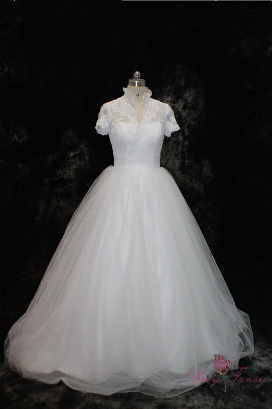 Primary image for Rosyfancy Queen Anne Collar Short Sleeves Lace And Tulle Ball Gown Wedding Dress