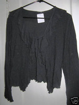 80s goth gothic ruffled madonna tie top jacket shrug layer micro net L - $44.68