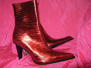 Primary image for Metallic Red zebra madonna punk ankle stiletto boot 10 UK7.5 39