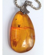 STERLING SILVER RUSSIA GENUINE BALTIC AMBER PENDANT NECKLACE 925 STAR HA... - $92.78