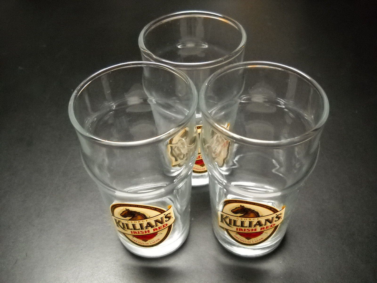 Killian's Irish Red Miniature Pint Glasses Lot of Three Made in Germany Lager
