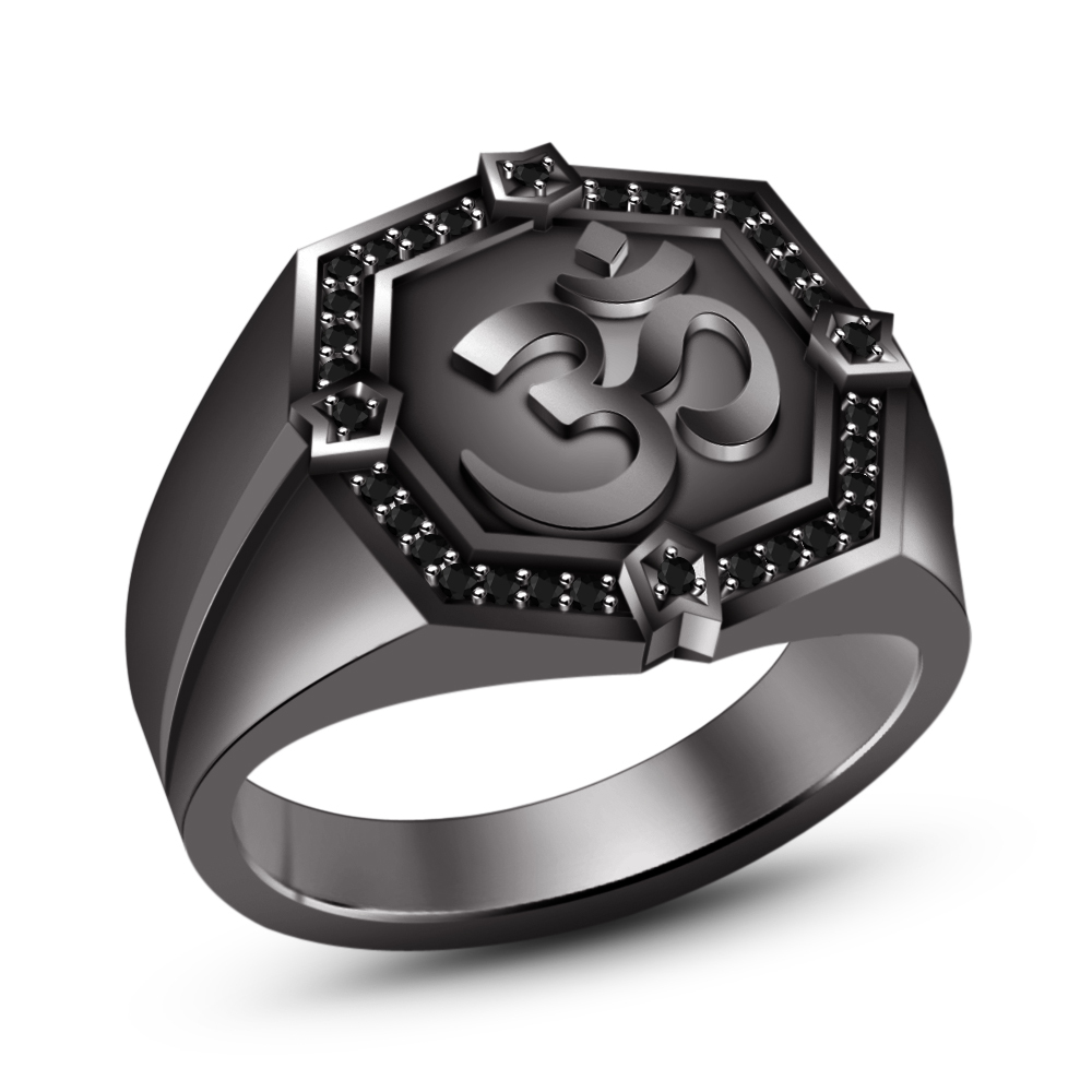 "Primary image for 14k Black Rhodium Plated 925 Sterling Silver RD Black Cubic Zirconia ""OM"" Ring 8"
