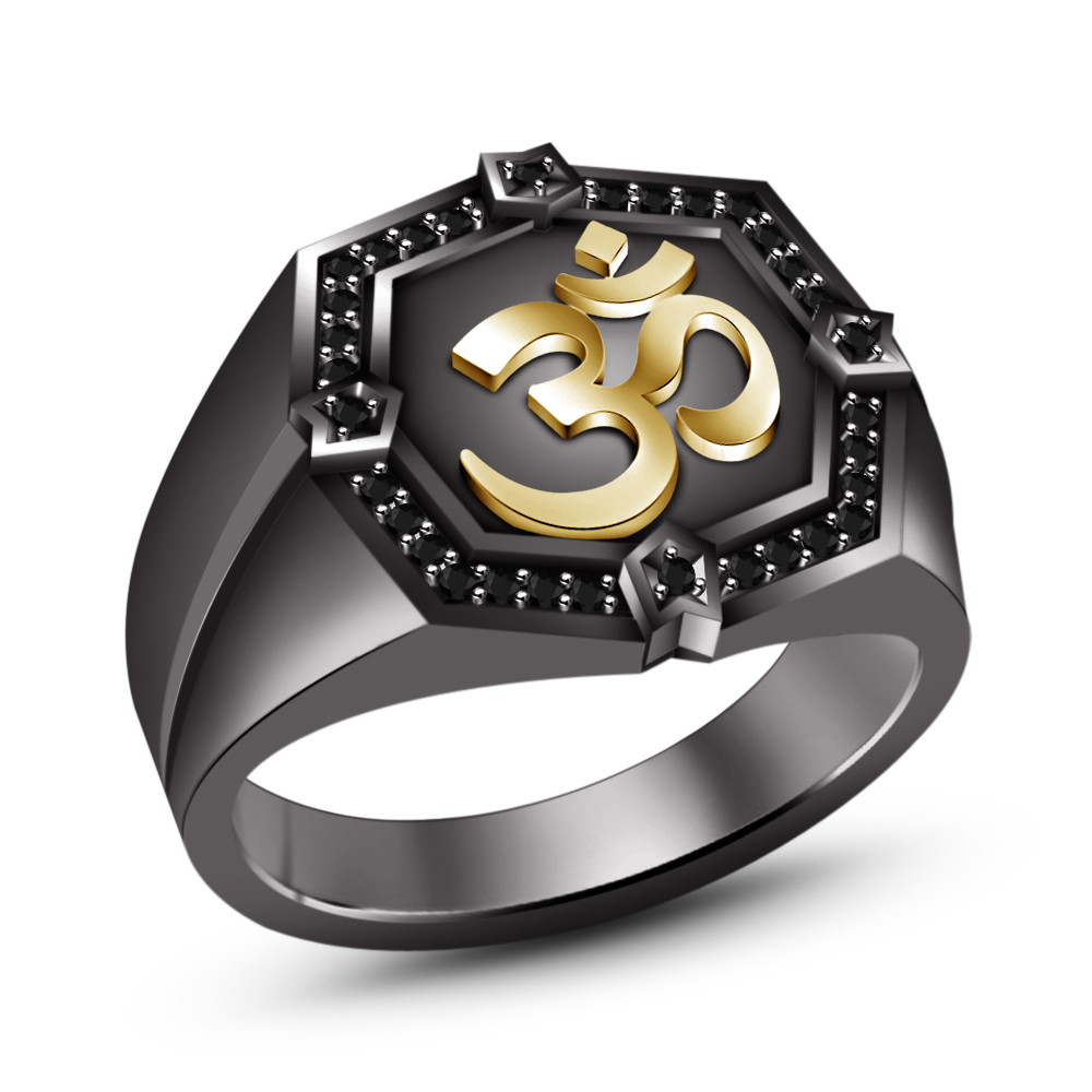 "Primary image for 14k Black Rhodium Plated 925 Sterling Silver Round Black CZ Men's SPL ""OM"" Ring"