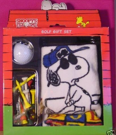 Peanuts Snoopy JOE PRO golf towel ball tee gift set NIB Bonanza
