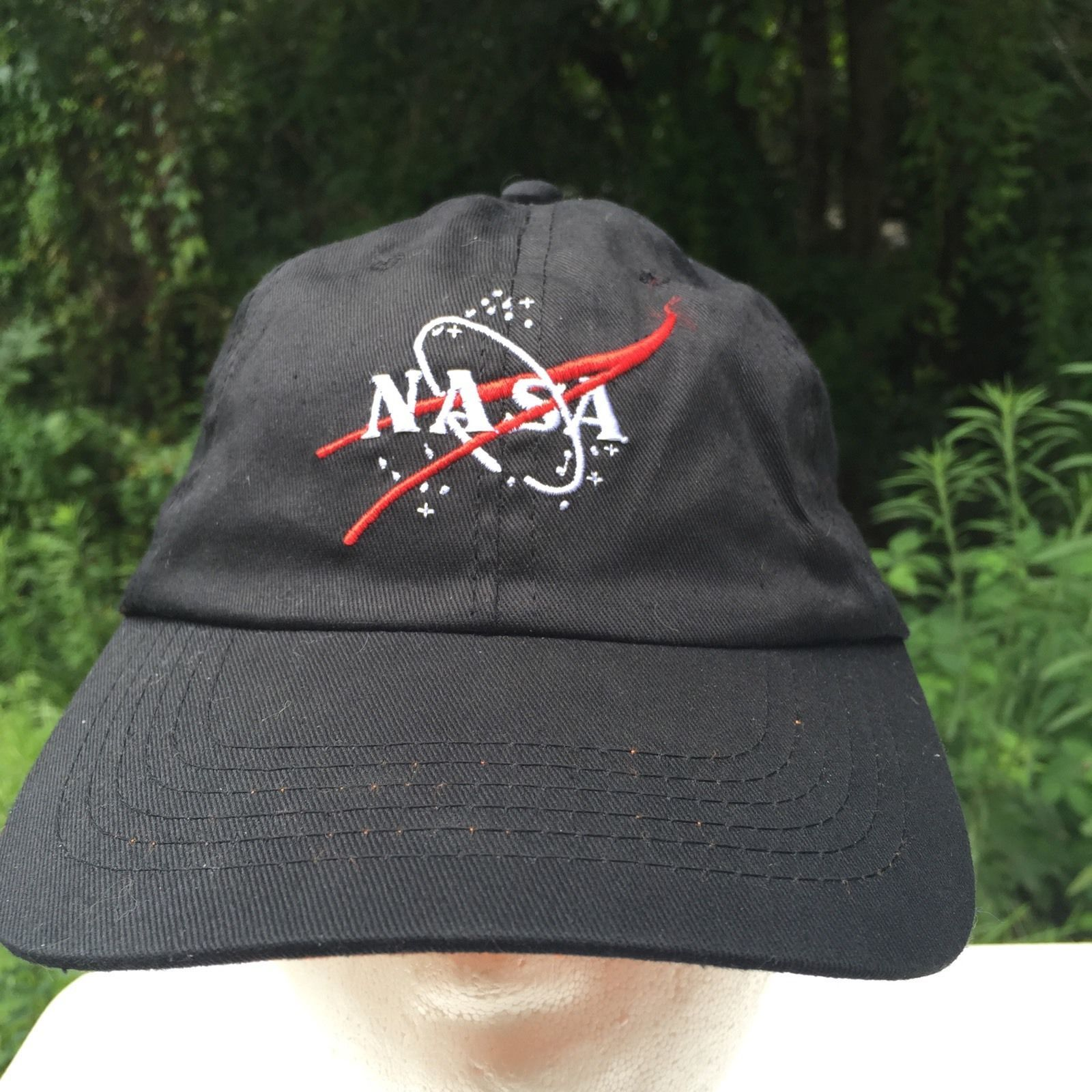 Primary image for Youth Sz 56cm NASA Velcro Adjustable Hat Cap Embroidered Black Trucker
