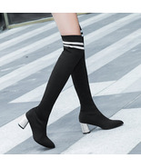 woman trending knitwear over-the-knee boot, slim look, size 4-8.5, black... - $78.80