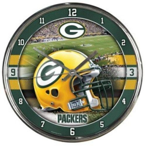 "GREEN BAY PACKERS CHROME SILVER 12"" ROUND QUARTZ WALL CLOCK NFL FOOTBALL"