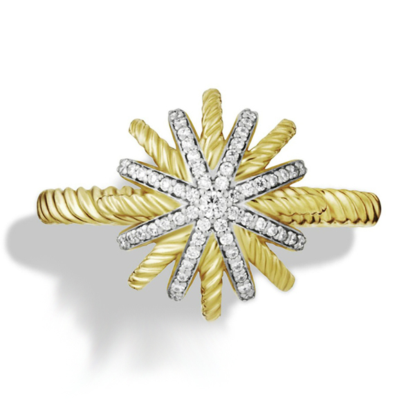 'Starburst' Crystal  Ring White Round CZ Yellow Gold Plated .925 Sterling Silver