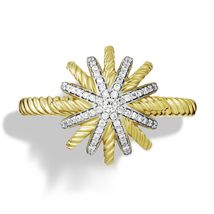 'Starburst' Crystal  Ring White Round CZ Yellow Gold Plated .925 Sterling Silver - $59.84