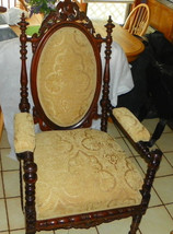 Walnut Carved Spindle Armchair / Chair - $1,499.00