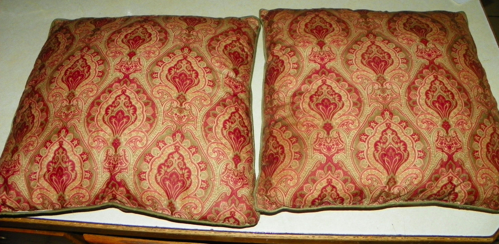 Primary image for Pair of Burgundy Beige Cotton Print Decorative Throw Pillows  16 x 16