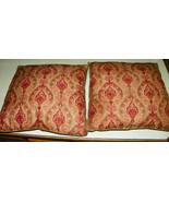 Pair of Burgundy Beige Cotton Print Decorative Throw Pillows  16 x 16 - $39.95