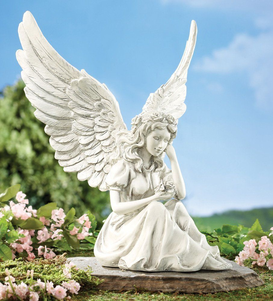Thoughtful angel figurine garden statue flower patio for Flower garden ornaments