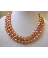 """VTG MARVELLA PINK  PEARL FAUX THREE STRAND BEADED STRAND NECKLACE 15.5""""L - $38.61"""