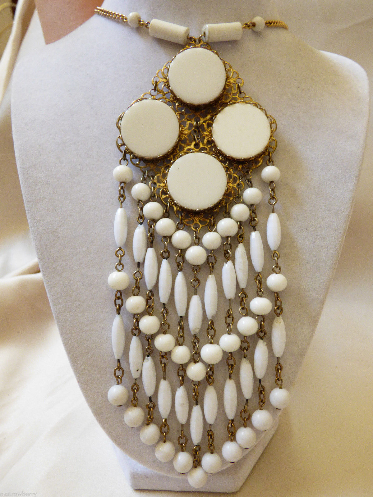 "Primary image for VTG RETRO 20.5""L GOLD TONE &  WHITE BEADS DROPS CHANDELIER 7""L PENDANT NECKLACE"
