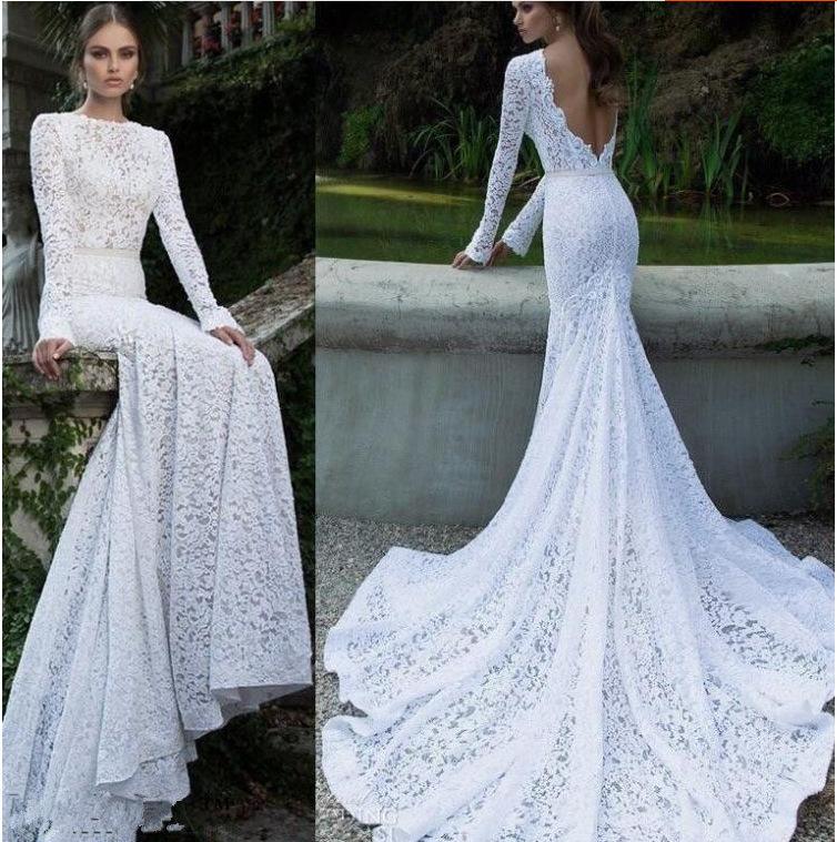 Long sleeve white lace wedding dress boat neck backless for Boat neck lace wedding dress