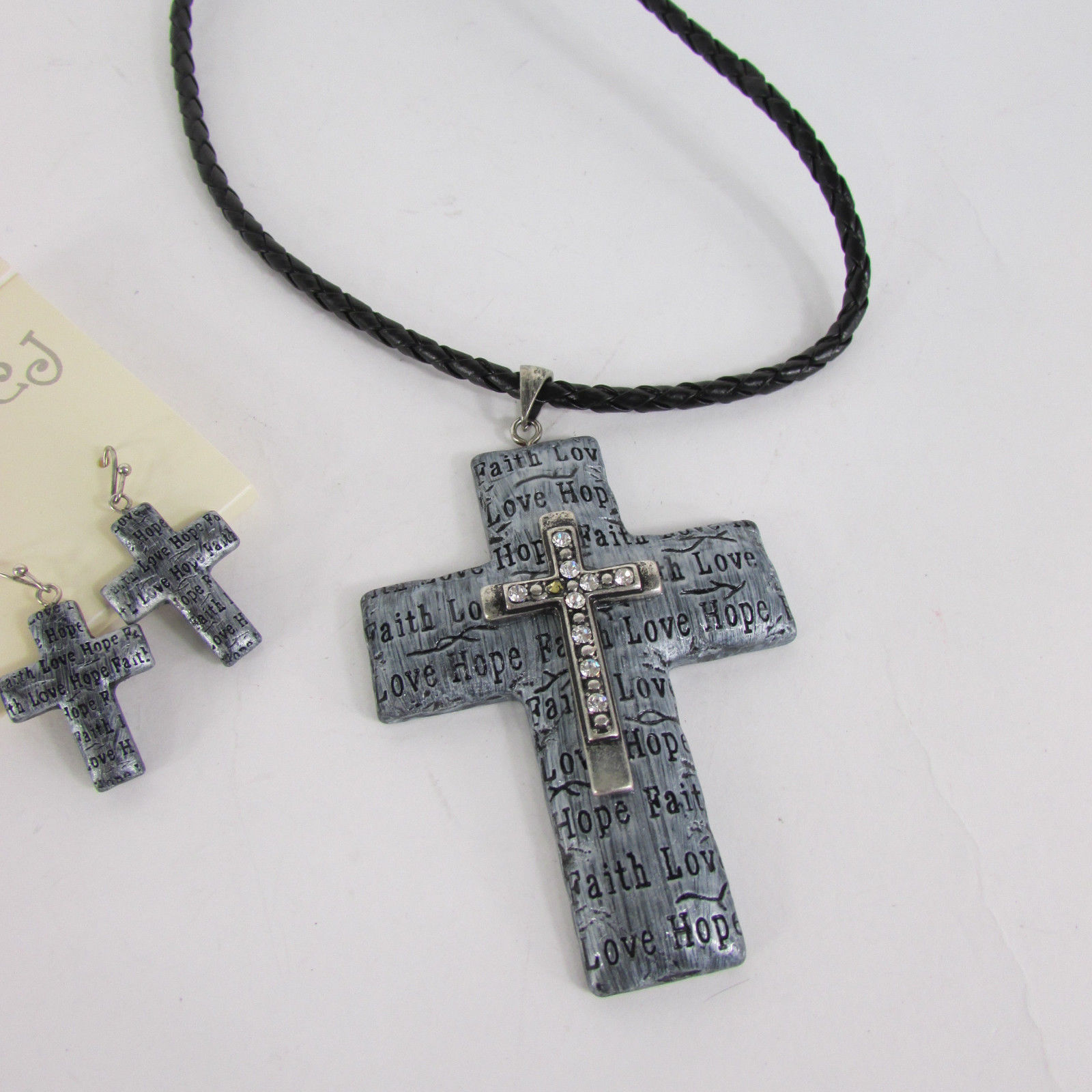 Primary image for New Women Necklace + Earring Fashion Love Hope Faith Large Silver Cross Pendant