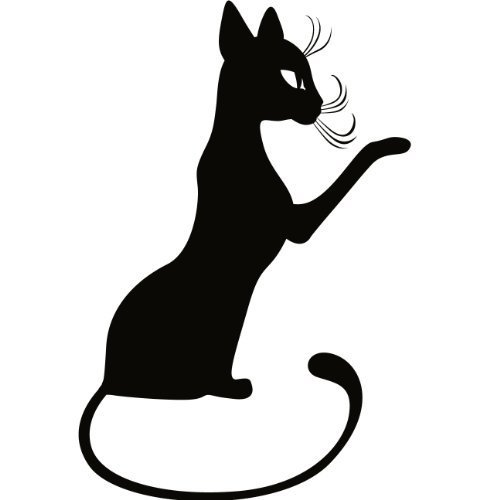 Cat Kitten Wall Decal Sticker - Animal Decoration Mural - 8 in. Black [Kitchen]