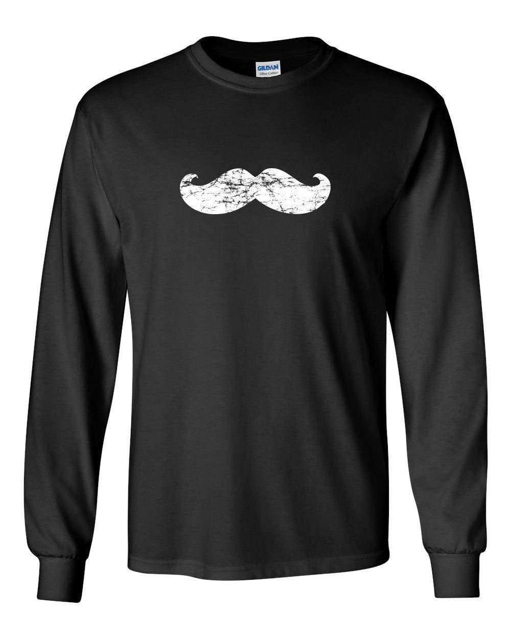 Primary image for 067 Mustache Party Long Sleeve Shirt beard facial hair pride college vintage new